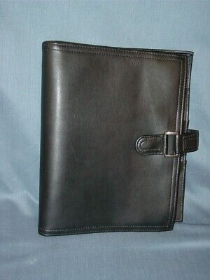 """Day-Timer Black Leather Planner Binder 7 Rings 1 1/8"""" Magnetic Snap Tab"""