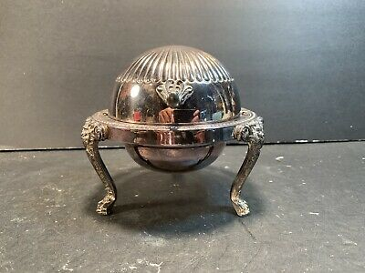 """ROGERS SILVER CO Silver Plate Roll Top Lion Foot Butter Dome Dish (Height: 5"""")"""