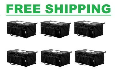 6 Pack- Insulated BLACK Catering Delivery Chafing Dish Food Full Pan Carrier Bag