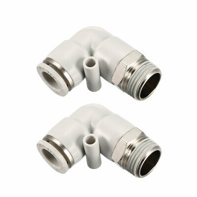 Pneumatic Push To Connect Fitting Male Elbow  10mm Tube OD X 3/8BSPT Thread 2Pcs