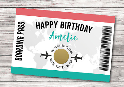 *PERSONALISED* Custom SCRATCH CARD Holiday SURPRISE Trip Boarding Pass Voucher