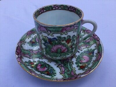 Beautiful Chinese Rose Medallion Demitasse Cup & Saucer - Early 20th Century