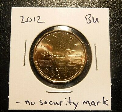 2012 Canada Loonie (without security mark) BU Coin