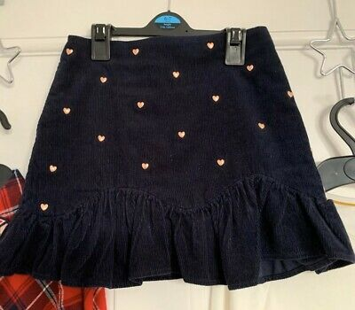 Marks & Spencer Navy Cord Frill Rose Gold Stud Heart Skirt Age 6-7 Worn Once!