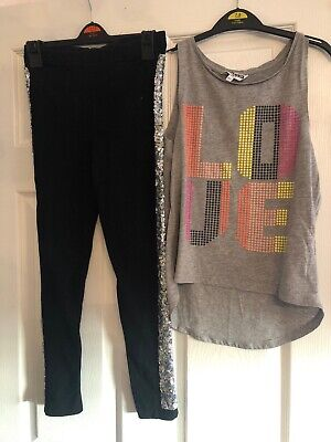 Girls Dance Oufit Leggings And Top Age 10-12 Years New Look/ George Sequins
