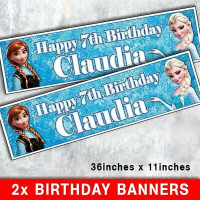 """2 PERSONALISED SHOPKINS BIRTHDAY BANNER 3 ft ANY NAME 36 /""""x 11/"""" ANY AGE"""