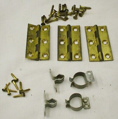 Set Brass Hinges For A Gents Master Clock Case With Screws