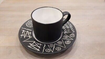 Scraffito Pattern cup and saucer Habitat Japan excellent condition