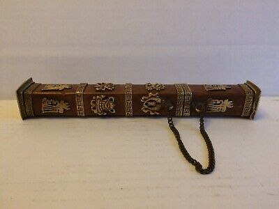 Antique Tibetan Copper& Brass Scroll Holder Inscribed