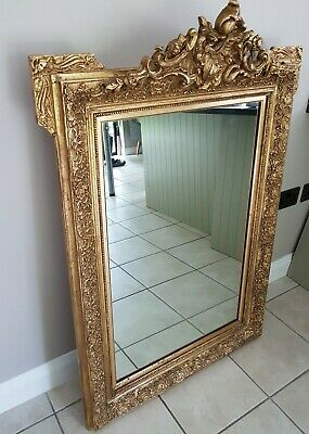 LARGE ANTIQUE FRENCH ORNATE GILT 19th CENTURY MANTLE MIRROR