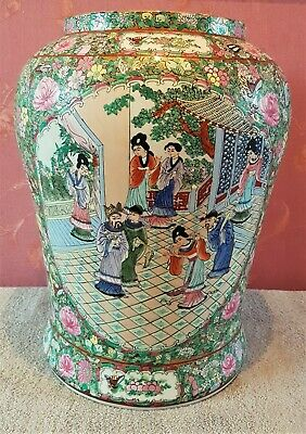 """Very Large Antique Chinese Canton Famille Rose Porcelain Vase 16.5"""" 19th C"""