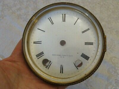 Antique-Clock Porcelain Dial Frame & Crystal-Mitchell Vance -1880s-Parts Only