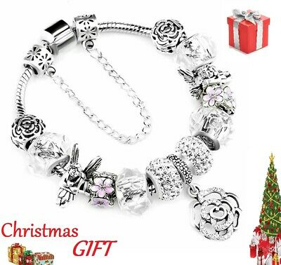 Authentic Pandora 925 Silver Fashion Bracelet With Romantic European Charms