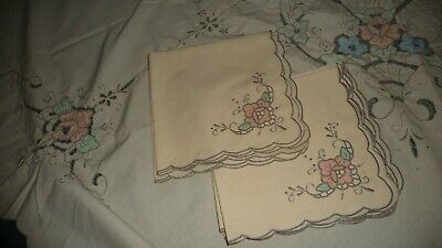 "#1119D vtg 60"" R Tablecloth W 8 17''x16'' Napkins EMBROIDER OpenCUT PINK Flower"