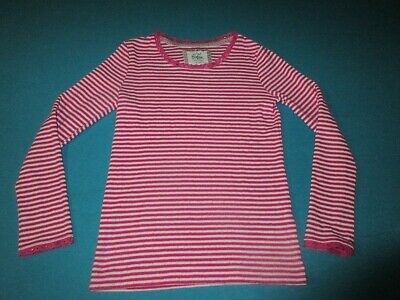 MINI BODEN Girls Pink White Striped Long Sleeve Shirt Size 9/10 Y