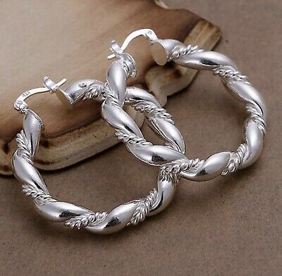 "Unique Women's Classic 925 Sterling Silver 1.75"" Twist Rope Round Hoop Earrings"