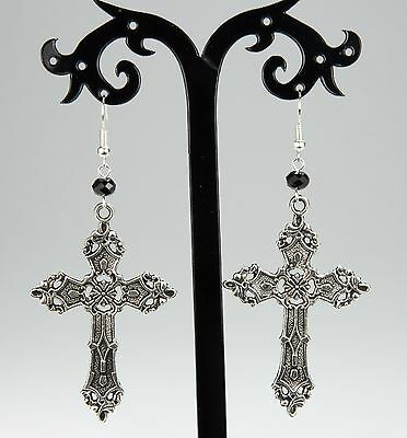 NEW. A PAIR OF LONG CROSS CRUCIFIX GOTH  MADONNA EARRINGS