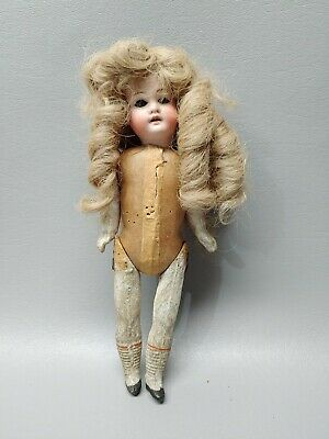 """Antique doll bisque head paper mache body open mouth 8"""" sleep eyes Germany"""