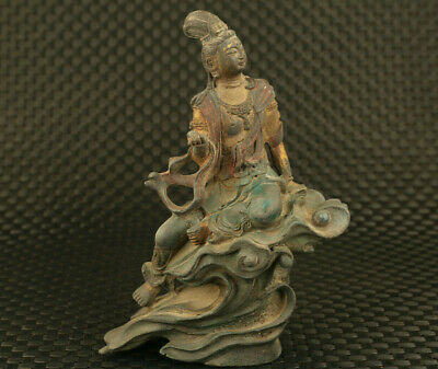 unique Chinese old bronze Kwan-yin buddha statue antique copy ming dynasty art