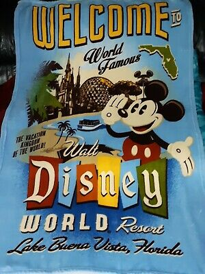 Disney Parks Fleece Disney World Resort Mickey Mouse Welcome Blanket Throw