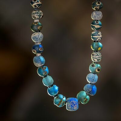 Ancient Evil Eye Roman Glass Beads Necklace, Byzantine or Islamic Period.