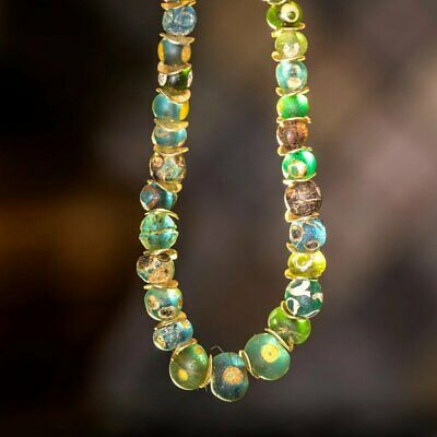 Rare Green Ancient Evil Eye Roman Glass Beaded Necklace, Byzantine Period
