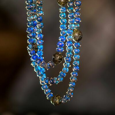 Translucent Blue and Gold  Mosaic Roman Glass and Antique Ethiopian Silver 3-Str