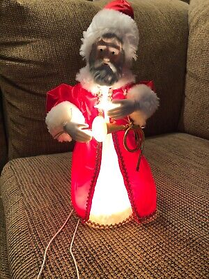 "Vintage 12""H Kurt Adler Santa Claus Tree Topper Top Christmas Holiday Lighted A+"