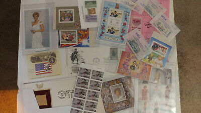 Huge Collection of 58 Stamps - 9/11 Princess Diana 22 KT Gold Replica Jefferson