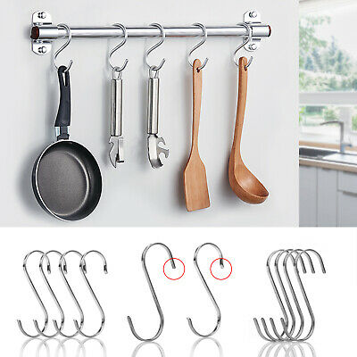 8/10pcs S-Shaped Kitchen Hanging Hook No Punch Brushes Bags Clothes Hanger Door