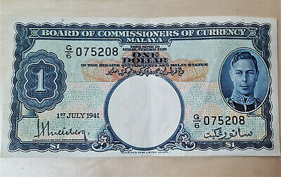 Ww2 British Board Of Commissioners Of Currency Malaya $1 Dollar Paper Note