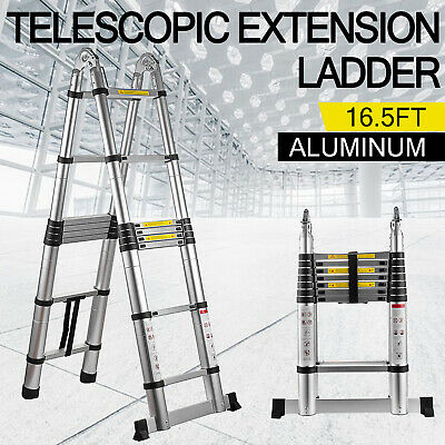 16.5Ft Aluminum Telescopic Extension Folding Step Multi-Use Non-Slip Ladder 5m