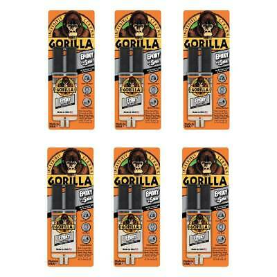 Gorilla Epoxy Glue Syringe Super Strong Bond Sets in 5 Min. 0.85oz Clear, 6-Pack
