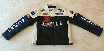 Child's / Kid's Suzuki Leather Motorcycle Bike Jacket - Child XXL - suit 8-10 yr