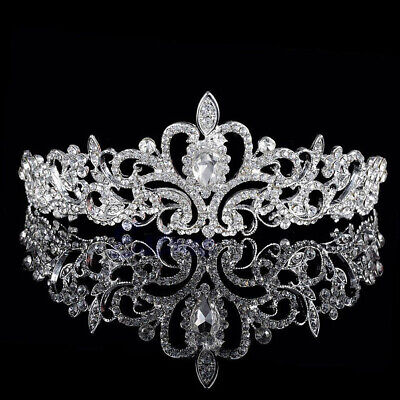 Silver Wedding Bridal Tiaras Diamante Crown Headband Hair Jewellery Accessories