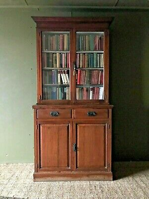 Antique Freestanding Glazed Library Bookcase Display Shelves Drawers Cupboard