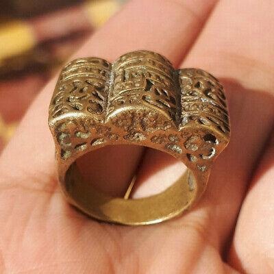 Rare Ancient antique authentic Bronze copper Ring solid Musueum Artifact