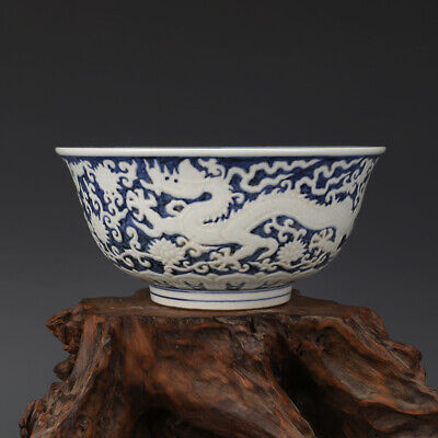 Fine Chinese Xuande marked old antique Porcelain blue white carved dragon bowl