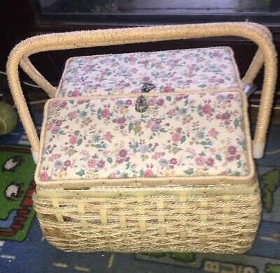 Vintage Sewing Box With Needles, Bits, Bobs Display Prop