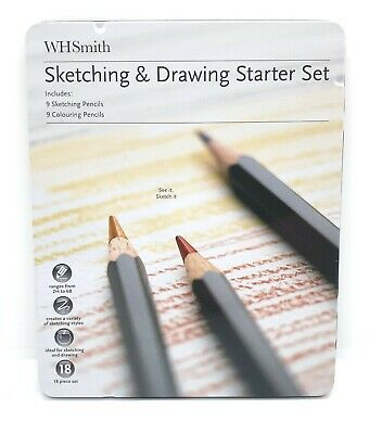 WHSmith Sketching & Drawing Starter Set With 9 Sketching & 9 Coloured Pencils