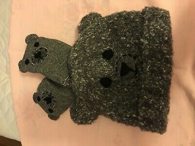 Next Boys Age 1-2 Years Beanie Hat & Mittens Bear Ears Bnwt Dark Grey Mix Wool
