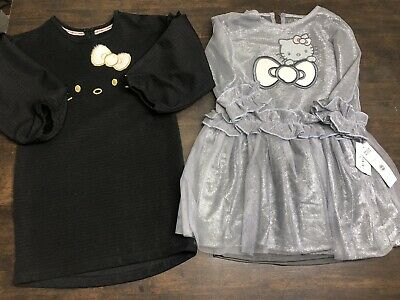 HELLO KITTY Silver and Black Dresses Girls Size 5 & 6 Long Sleeve