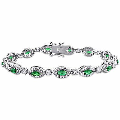 Amour Green Cubic Zirconia Created White Sapphire Sterling Silver Halo Bracelet