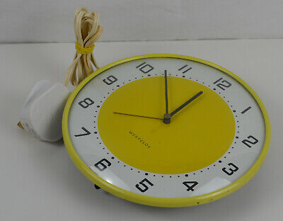 RARE Westclox 1960s Mid-Century Vintage Wall Clock Scotland Yellow Mains Powered