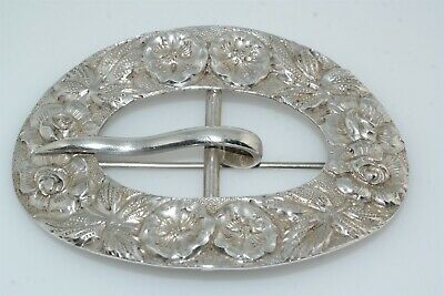 Antique Stieff 445 Repousse Sterling Silver Buckle Pin Brooch Sash Scarf