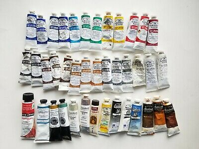 Oil Paint Lot of 40 Winsor Newton Daniel Smith Williamsburg CAS