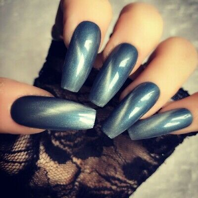 Hand Painted Coffin Extra Long False Nails Blue White Press On Nails