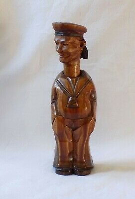 Unusual Antique Hand Carved Wooden Bottle Corker, Sailor Figure. Trench Art.
