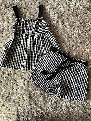 Matalan Black Gingham Top And Shorts Outfit Age 4-5