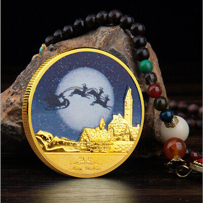 Merry Christmas Santa Happy New Year Gold Plated Commemorative Challenge Coin